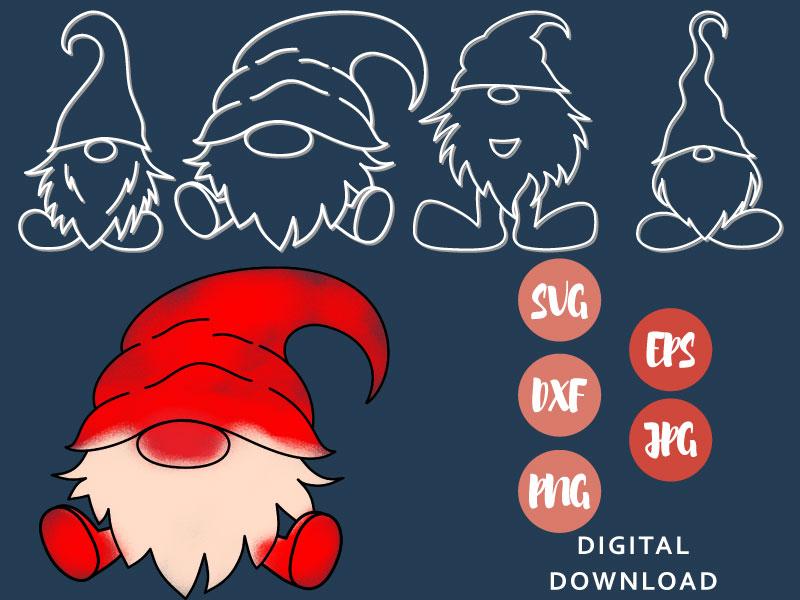 Gnome Rainbow SVG Christmas Mother Day Word Birthday Clipart Red Dwarf Vector Garden Cut File Gnome Image for Cricut Silhouette Bundle